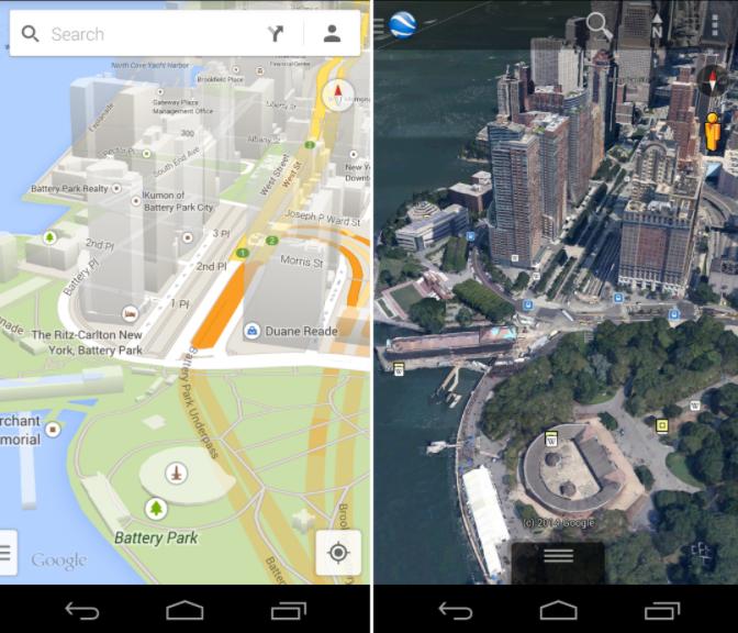 Google Maps vs Google Earth